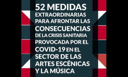 El Sector de las Artes Escénicas y Musicales propone 52 medidas para abordar la crisis. Comunicado en respuesta al lamentable discurso del Ministro de Cultura. Huelga digital días 10 y 11 de abril